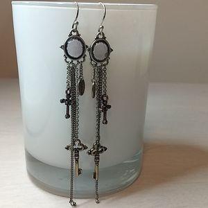 Long Silver, Brass, Purple Glass Chain Earrings